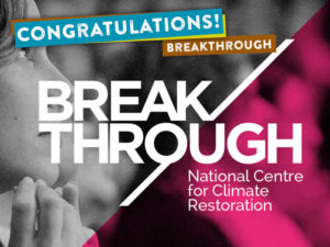 Breakthrough, the National Centre for Climate Restoration, was established in 2014 to bring new momentum, and a new way of working, to the climate crisis. Led by longstanding climate and sustainability activists Luke Taylor, Giselle Wilkinson, Philip Sutton and David Spratt, Breakthrough has challenged the movement to consider adopting climate emergency campaigning to restore a safe climate. Breakthrough is responsible for a number of influential climate restoration forums, and has recently launched a series of reports in the lead-up to the UN climate talks. The next Breakthrough forum is planned for November 4. www.breakthroughonline.org.au